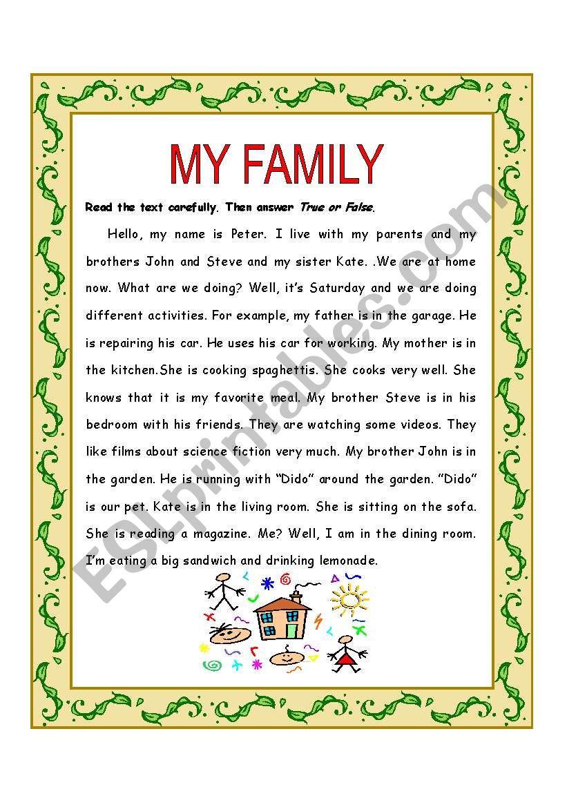 My family reading worksheet