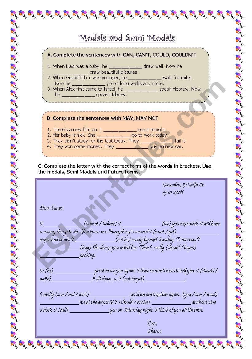 Modals and Semi Modals worksheet