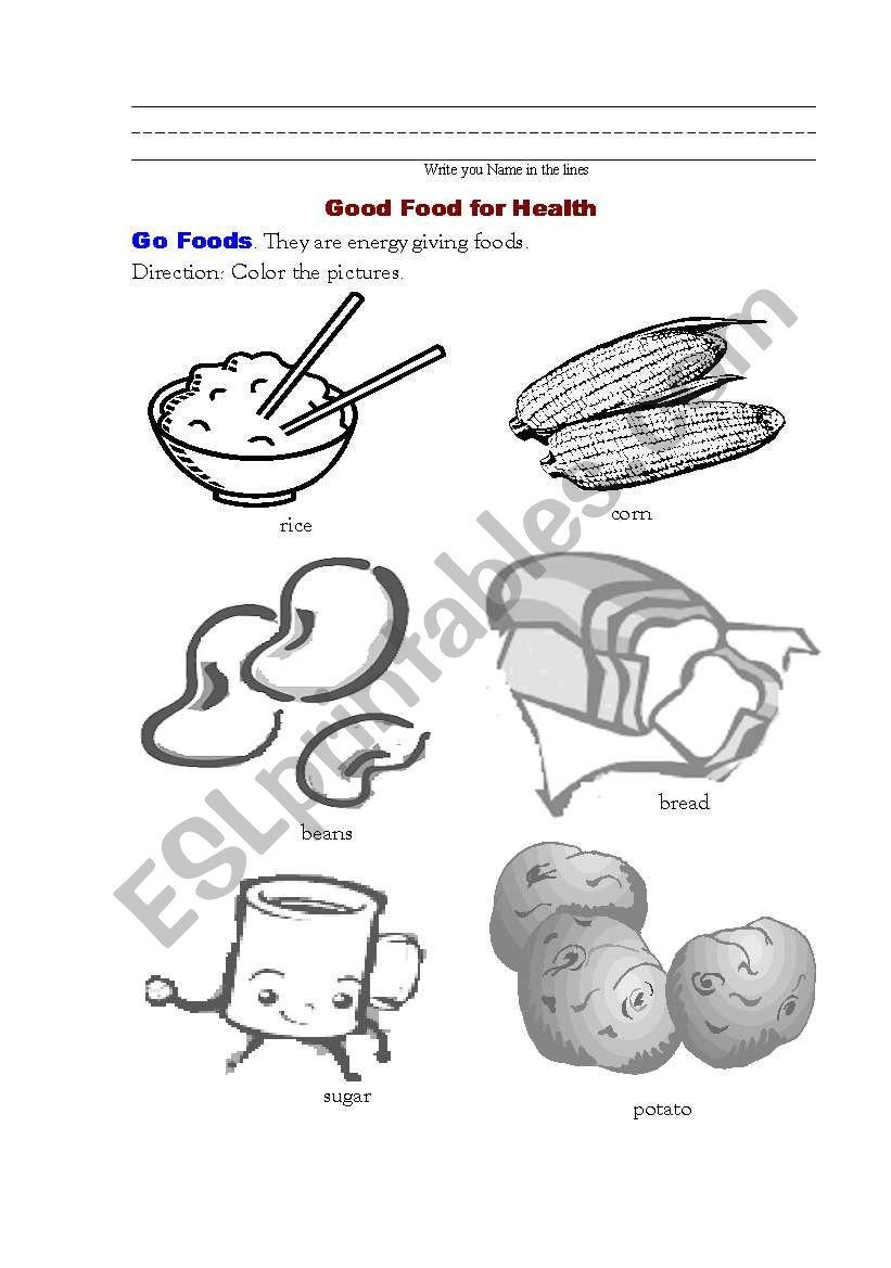 Good Food for Health 1  (Go Foods) - ESL worksheet by