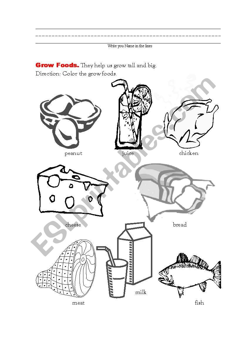 Good Food For Health 3 Grow Foods Esl Worksheet By