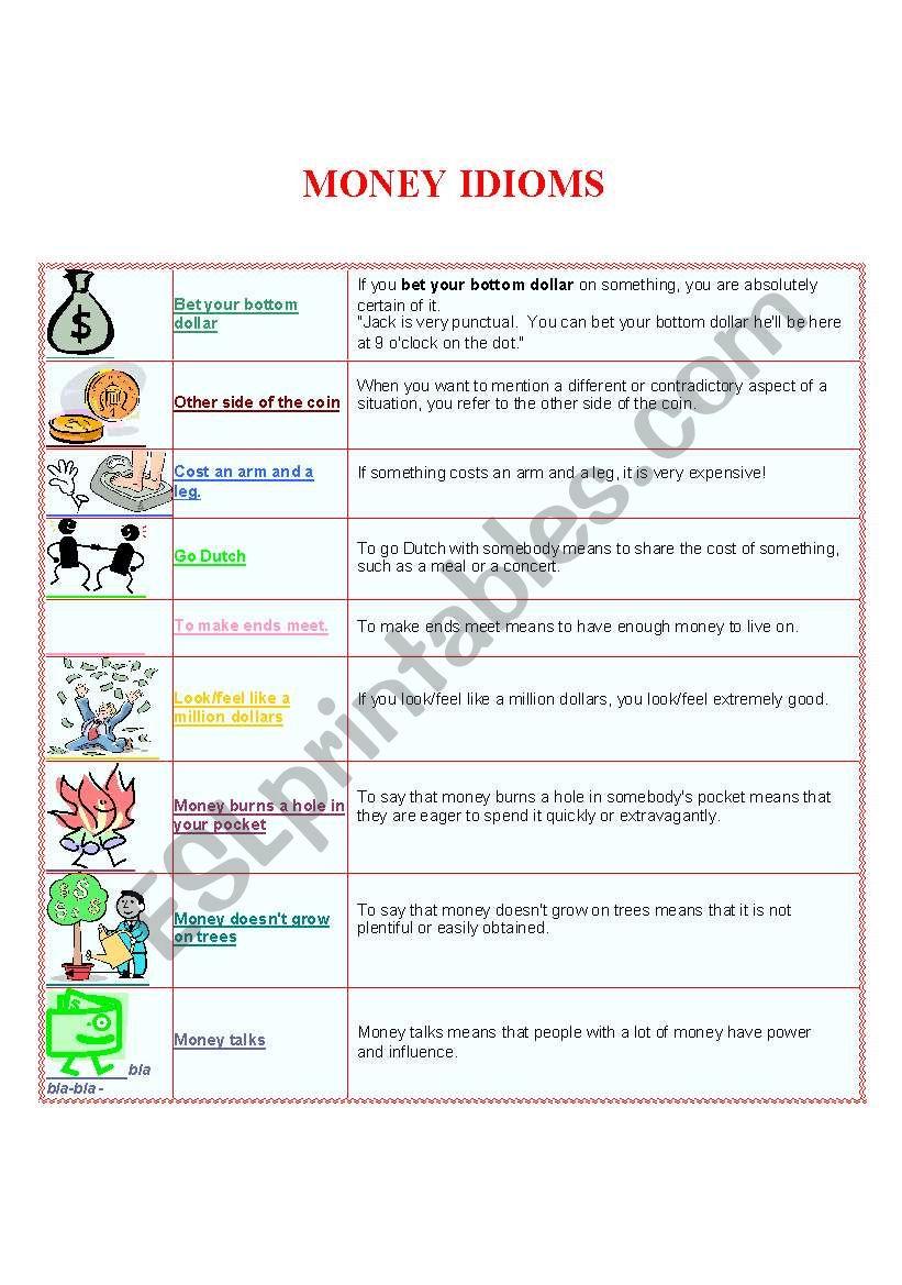 Money Idioms worksheet