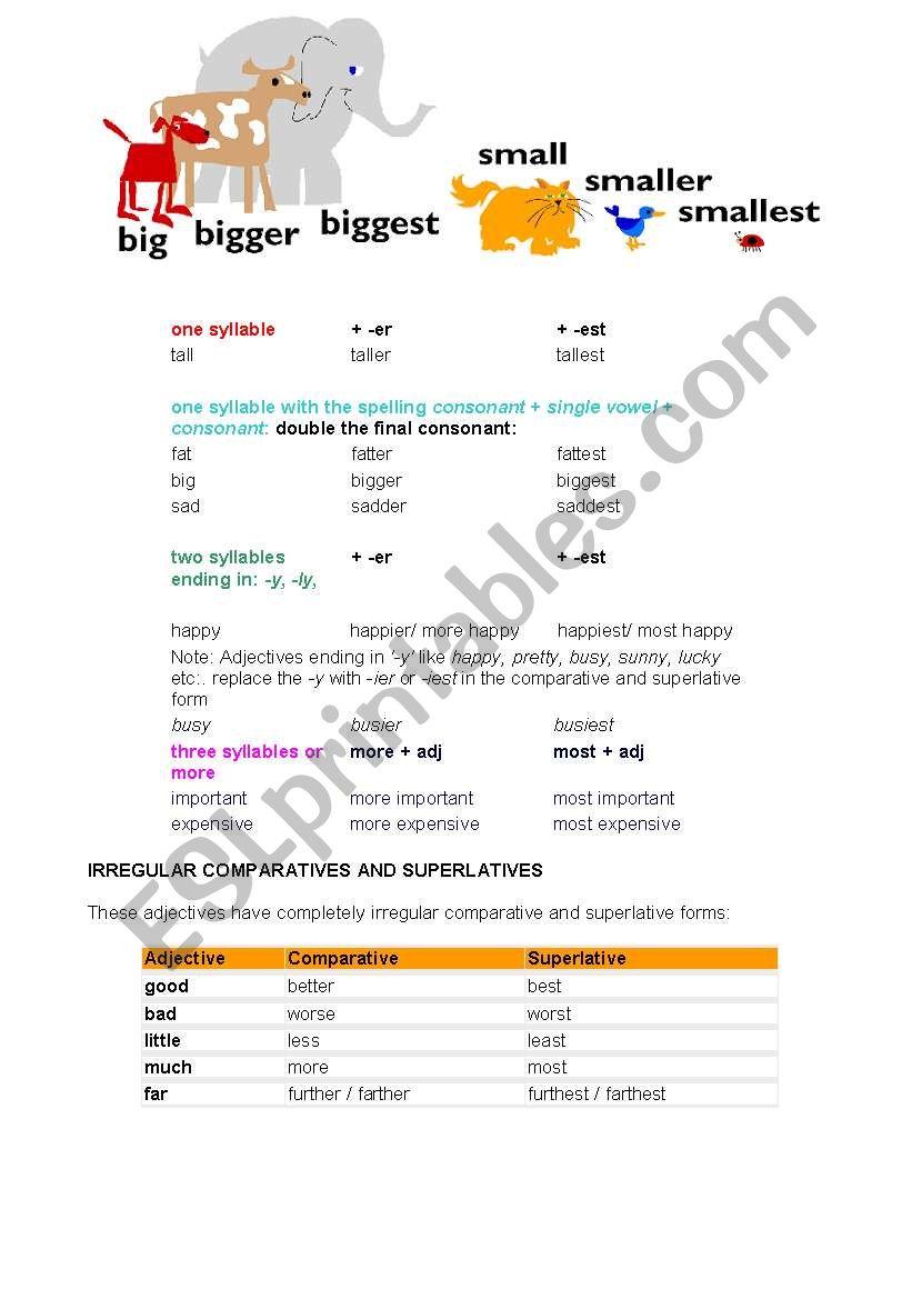 BIG, BIGGER, THE BIGGEST worksheet
