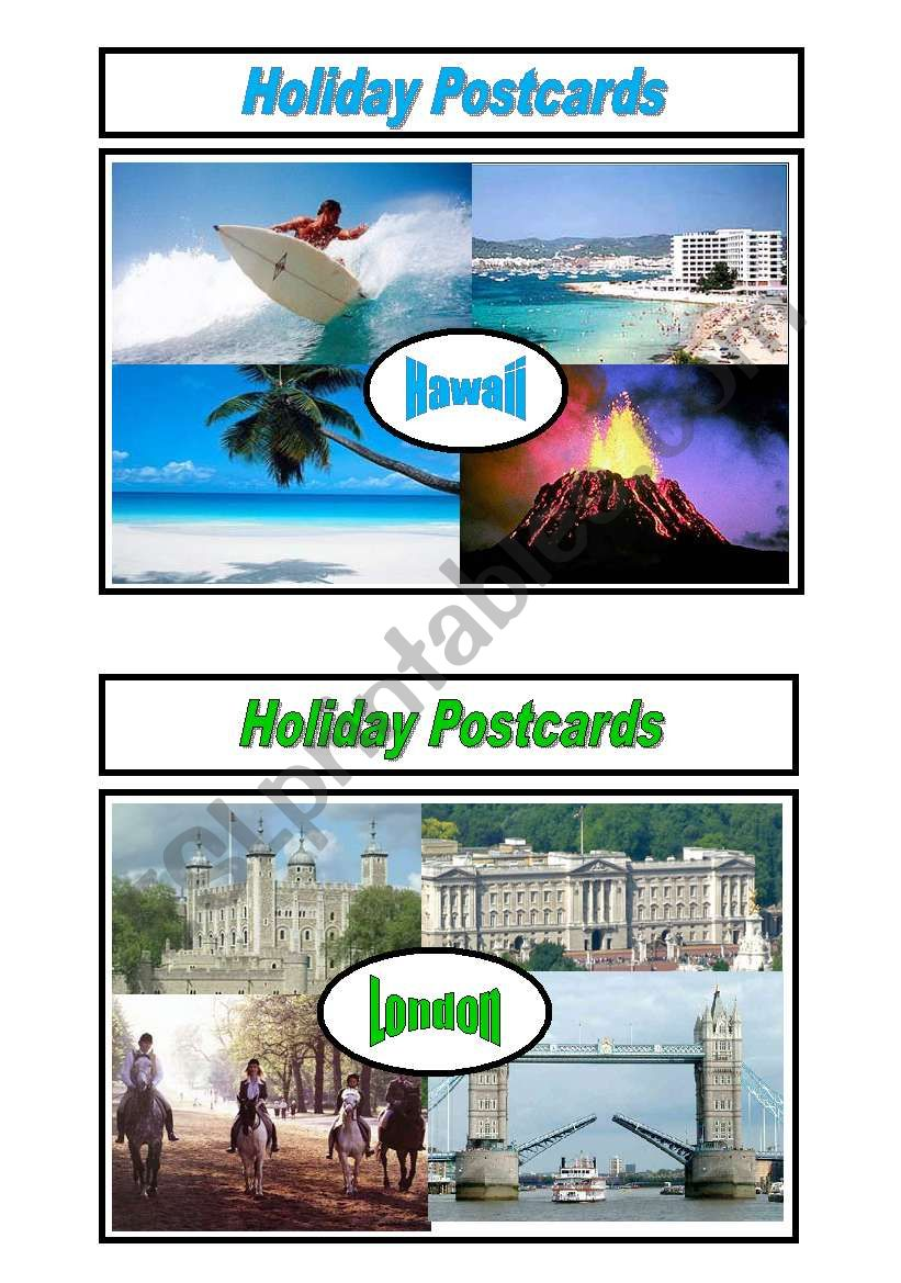 Holiday Postcards Pair Work 3/5