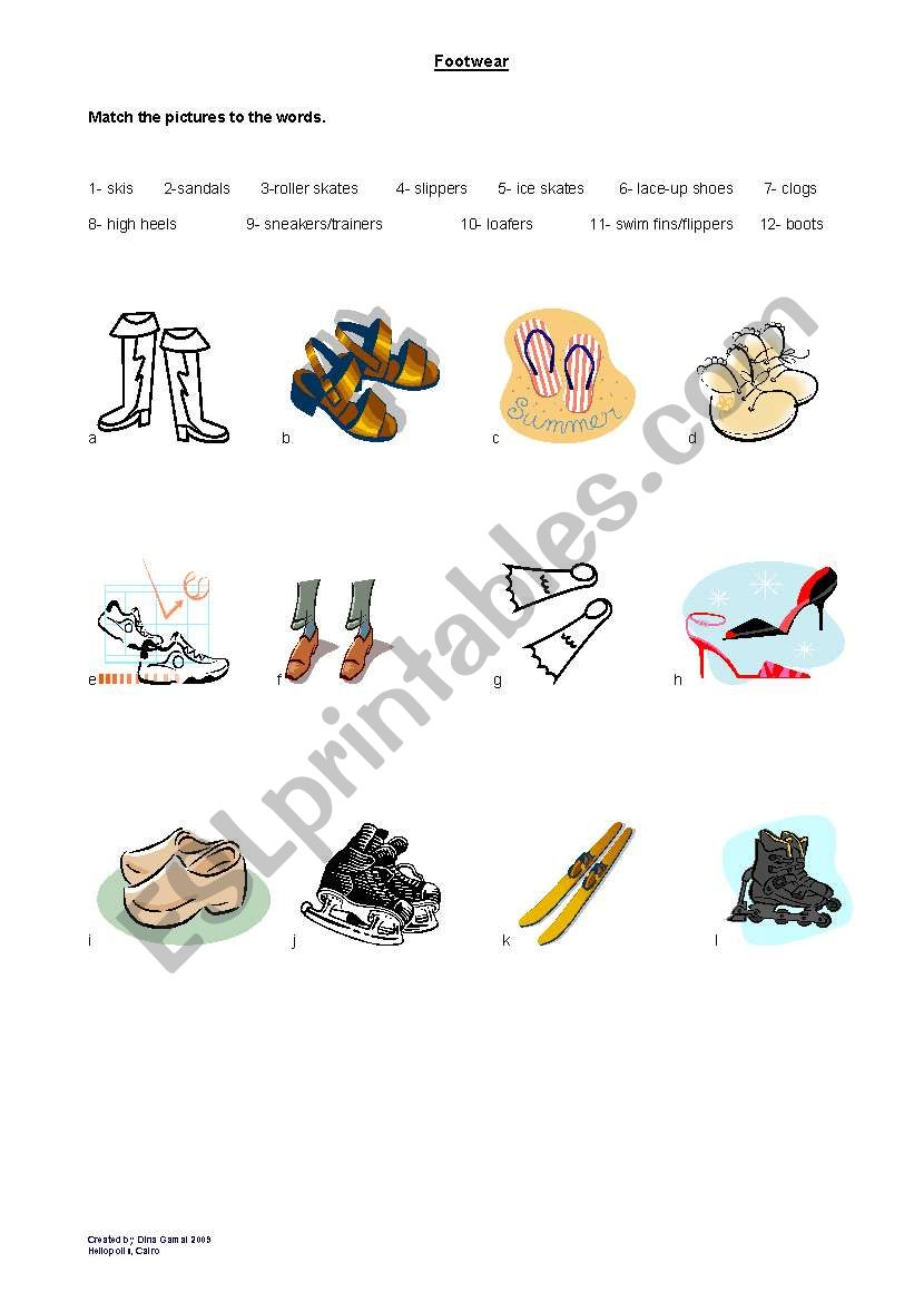Footwear worksheet