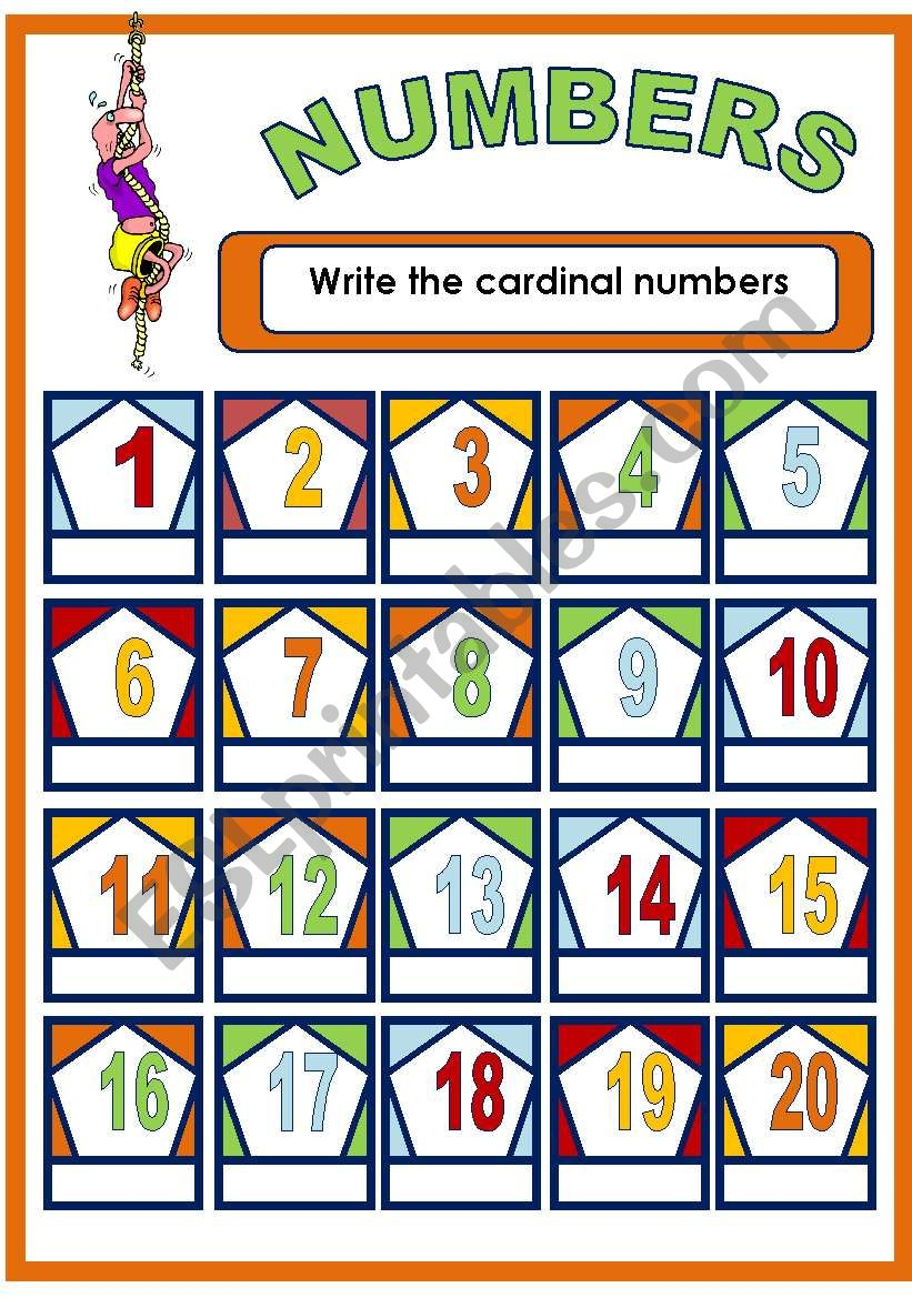 NUMBERS 1-20 worksheet
