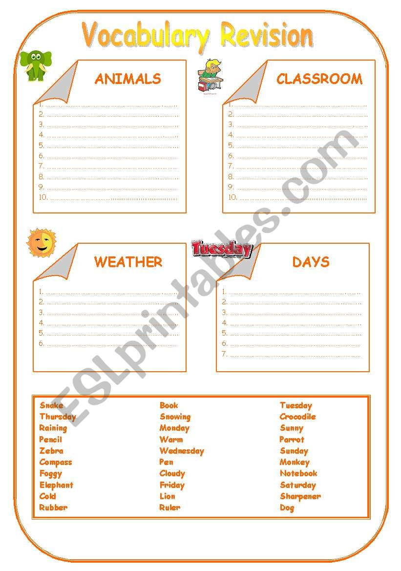 Vocabulary Revision worksheet