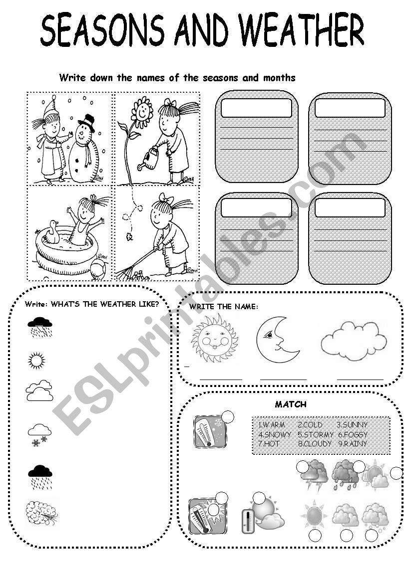 seasons and weather exercise esl worksheet by win25. Black Bedroom Furniture Sets. Home Design Ideas