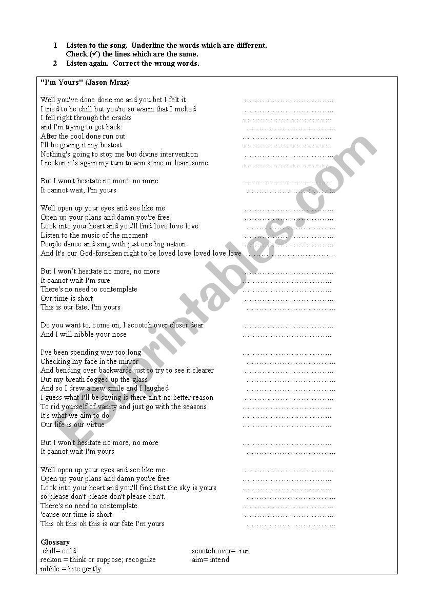 I´m yours by Jason Mraz worksheet