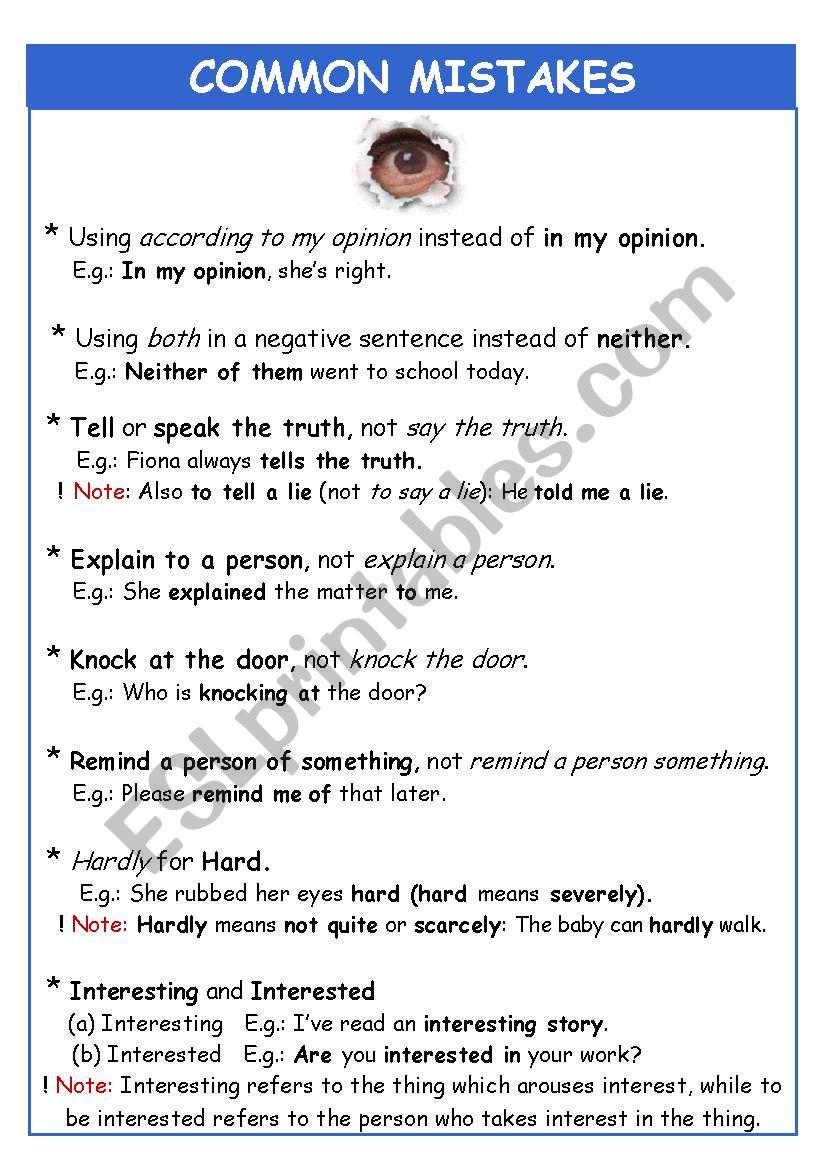 COMMON MISTAKES worksheet