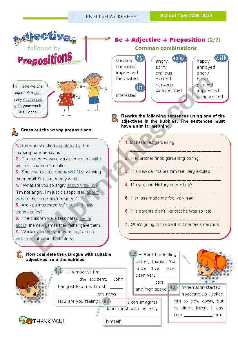 Adjectives followed by prepositions  (2)  - Common combinations with