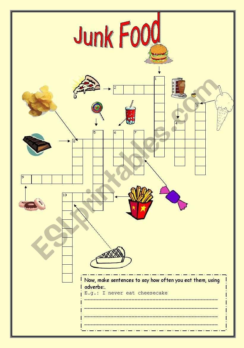 Junk Food crossword   ESL worksheet by vanessBD
