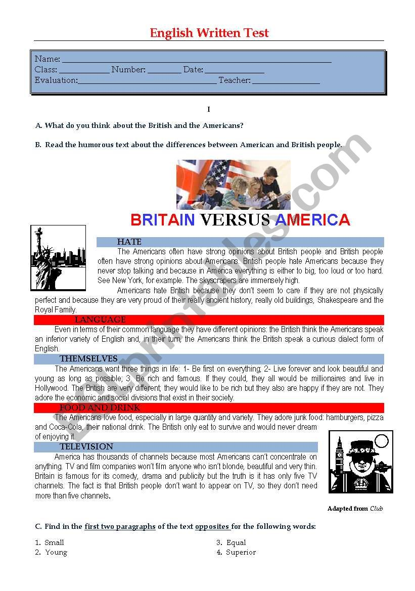 Test - Britain vs America worksheet