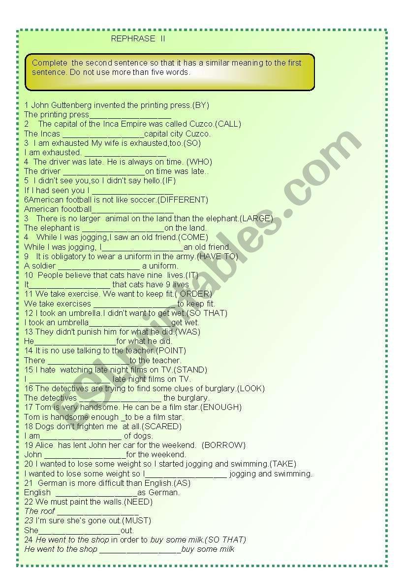 REPHRASE PART II worksheet