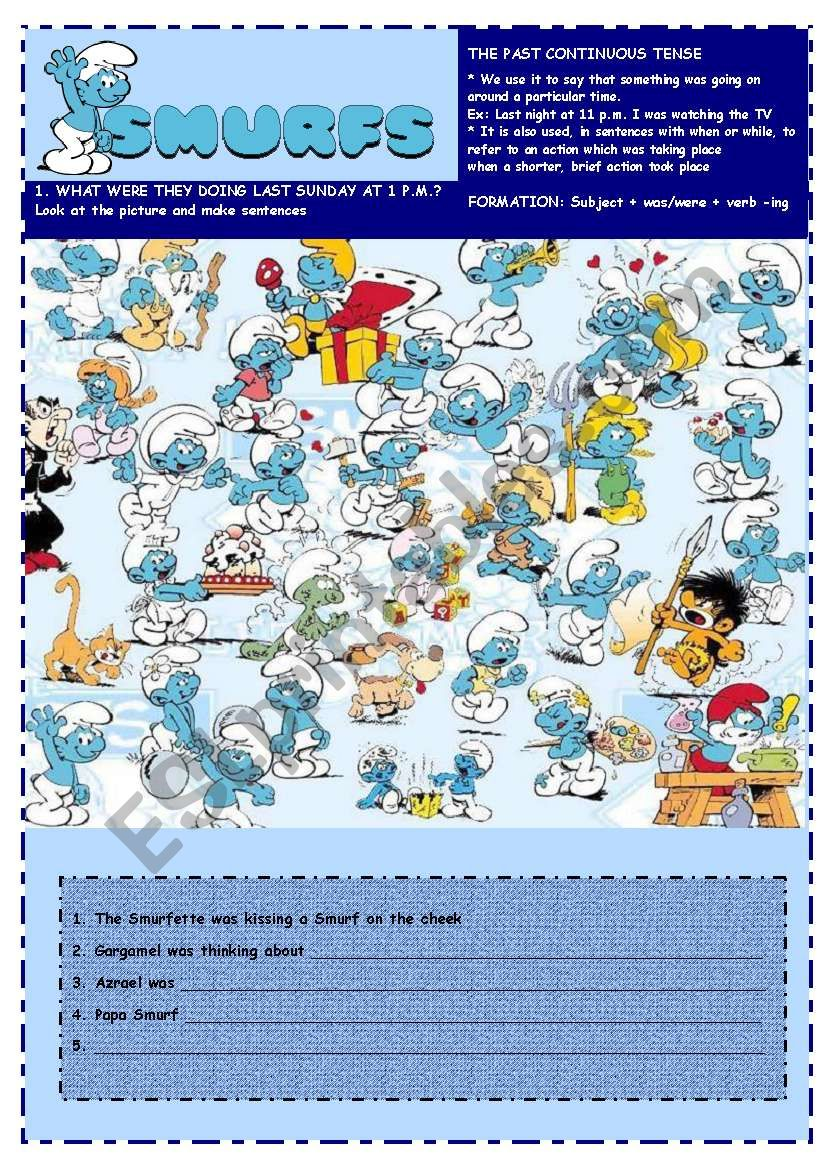 SMURFS I - PAST CONTINUOUS worksheet