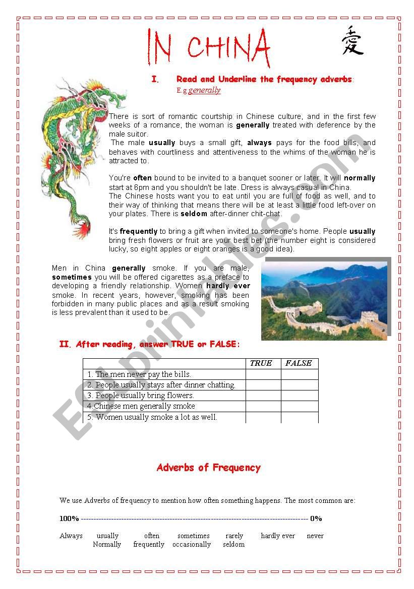 Frequency adverbs- ´´In China ´´
