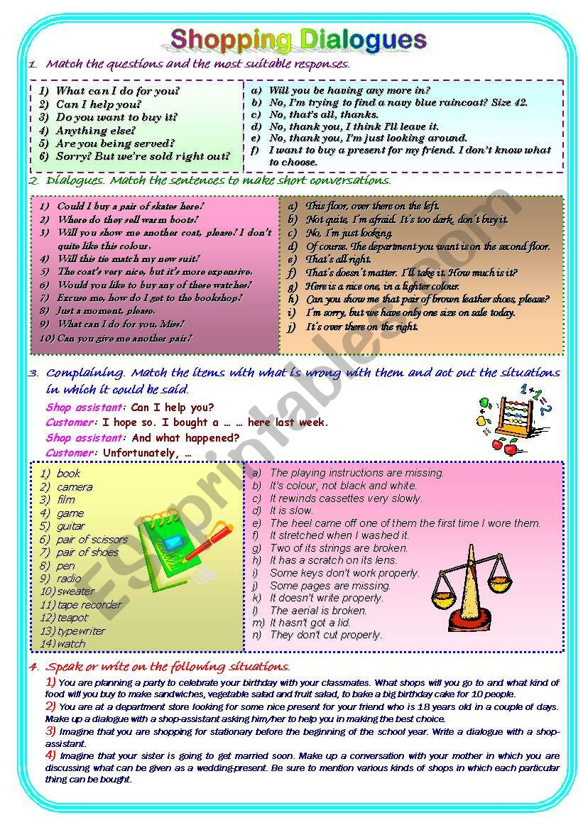 Shopping Dialogues worksheet