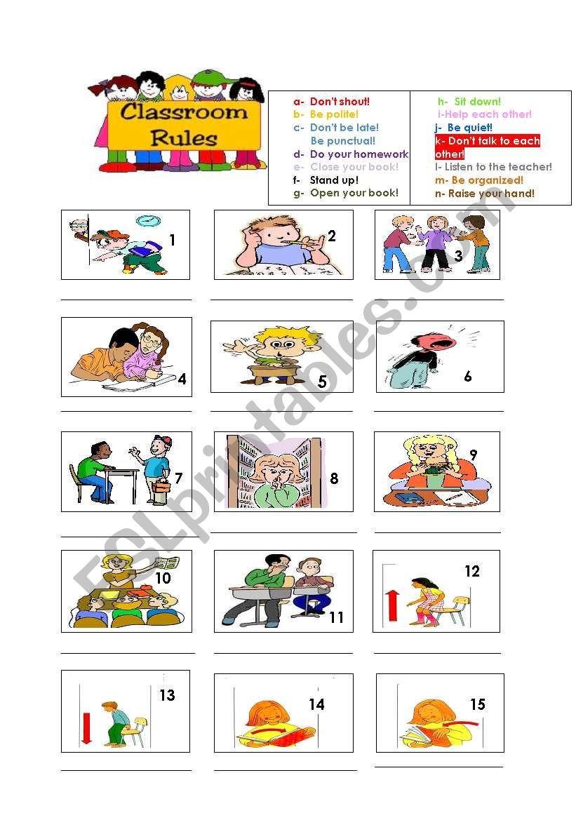 Classroom Rules! worksheet