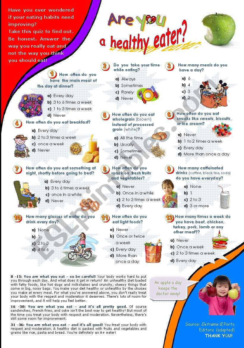 Are You A Healthy Eater Quiz For Intermediate And Advanced Students Esl Worksheet By Mena22