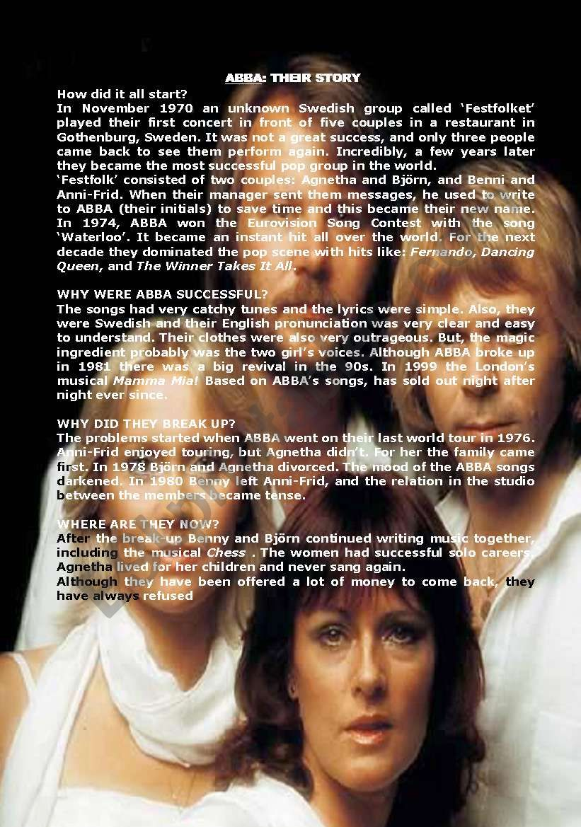 The history of ABBA worksheet