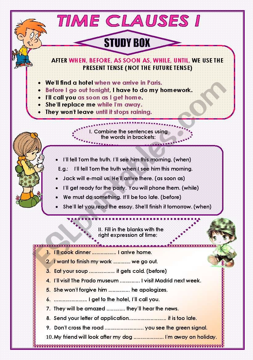 Time Clauses I worksheet