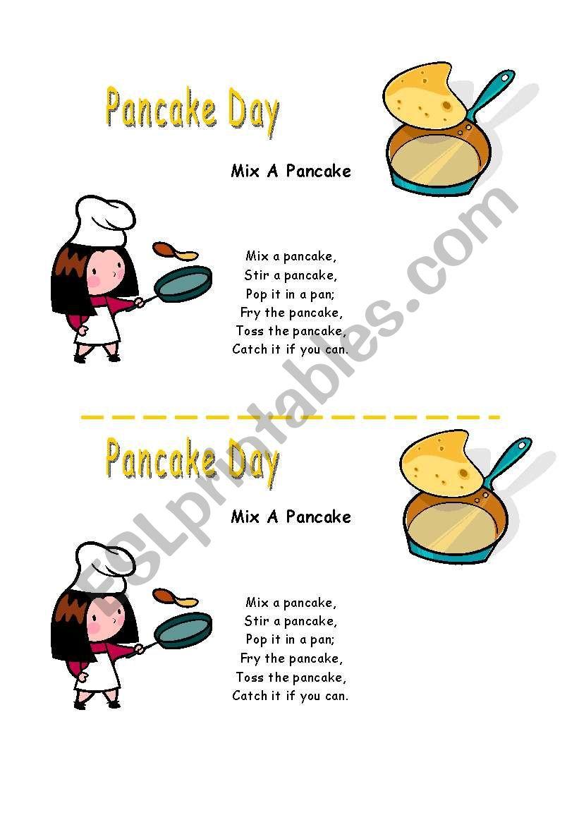 Pancake song worksheet
