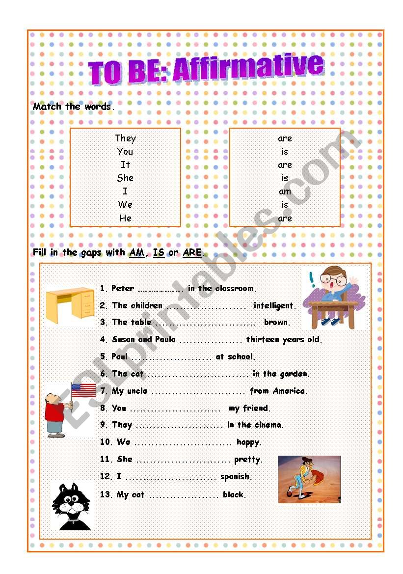 To Be: Affirmative worksheet