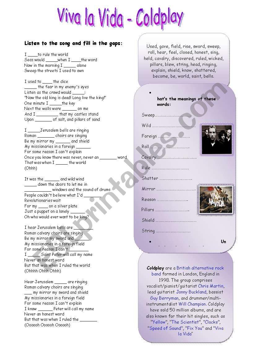 Viva la Vida - Coldplay worksheet