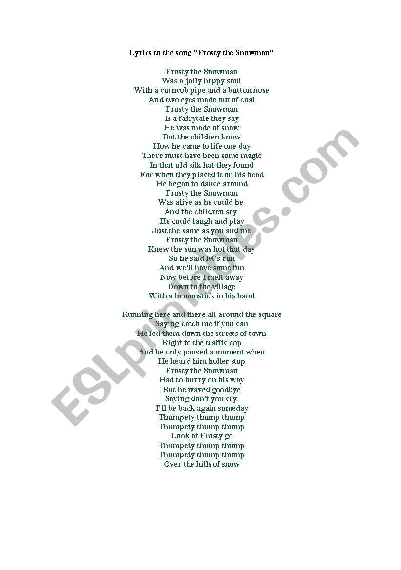 Frosty the Snowman: Song Lyrics