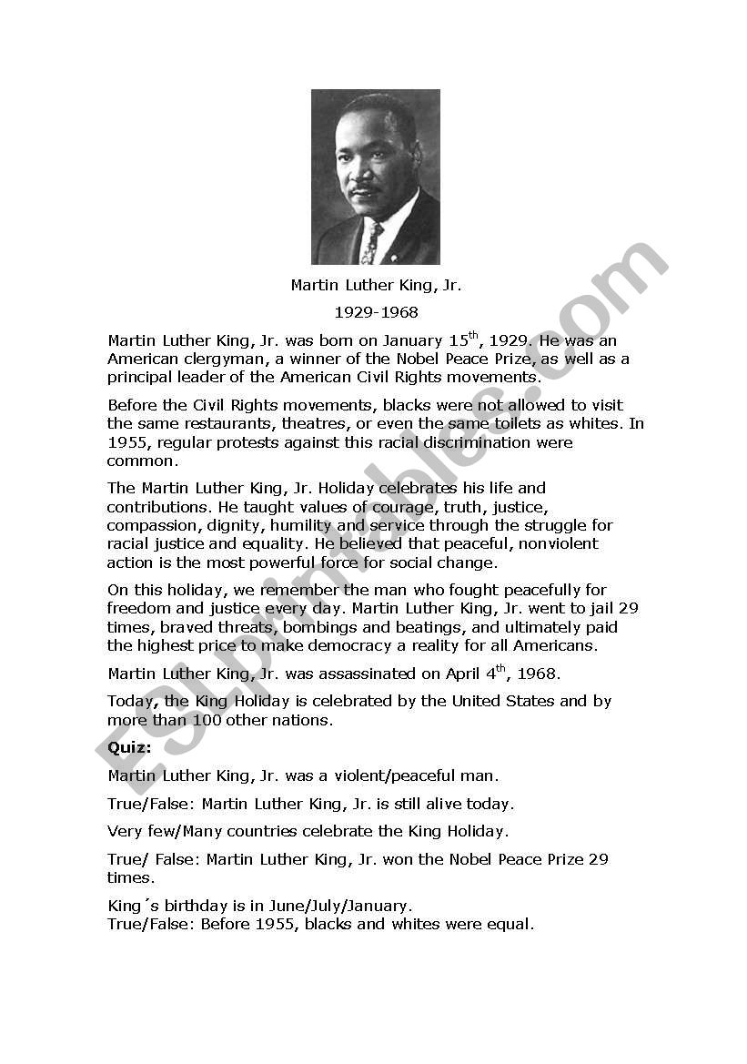 Martin Luther King, Jr. Reading and Quiz