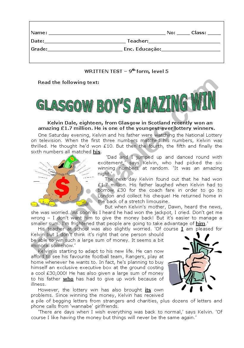 Glasgow boy´s amazing win worksheet