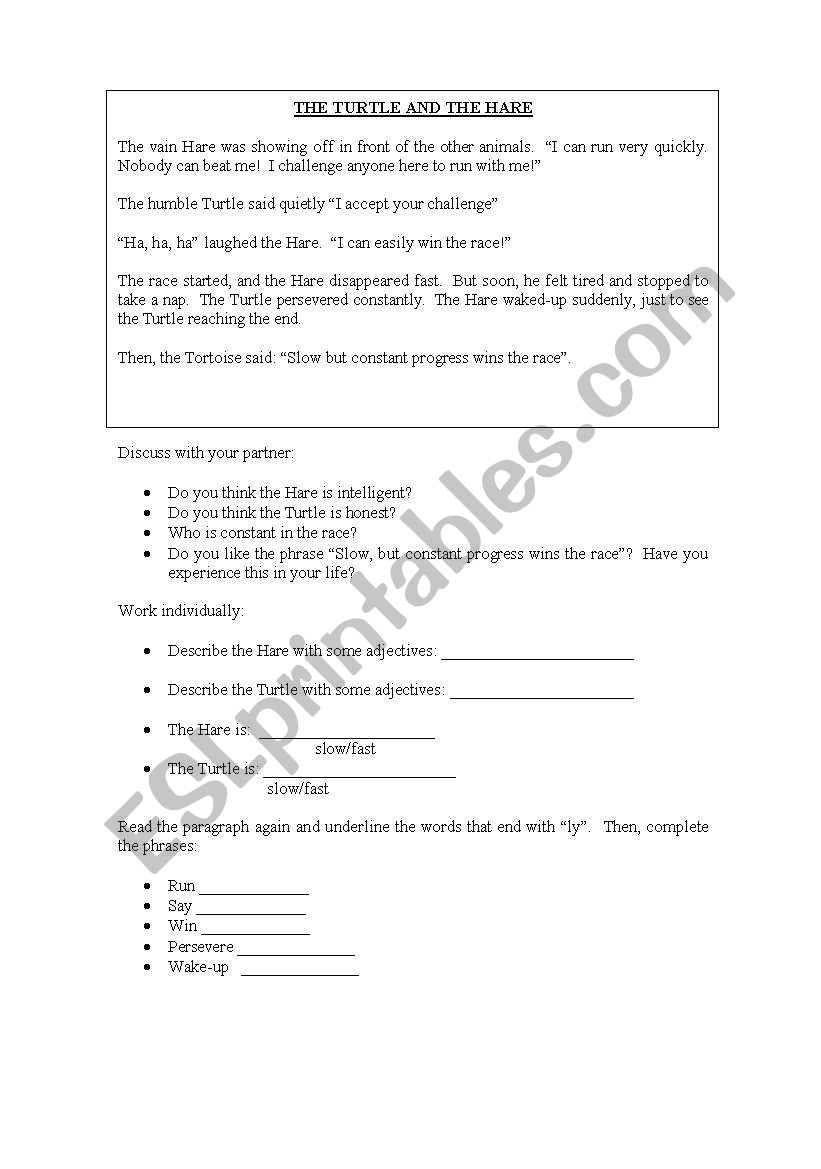 Turtle and the Hare worksheet