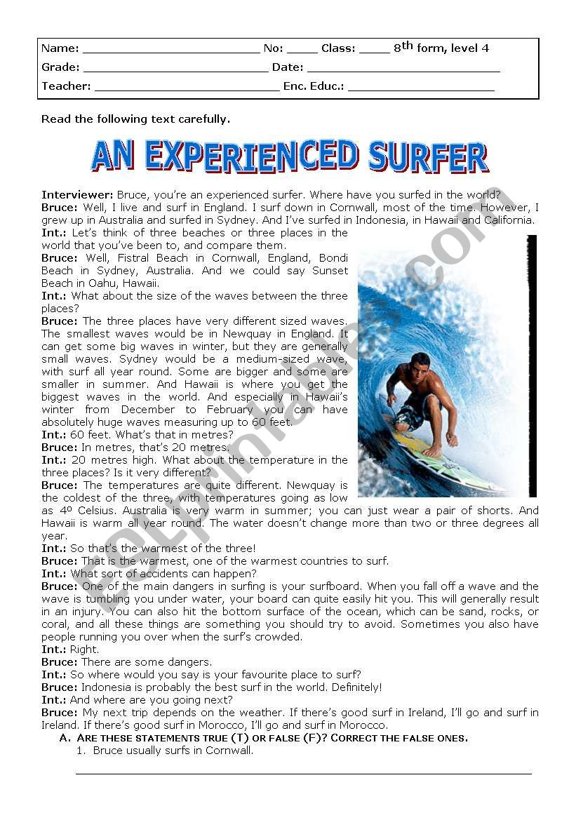 An experienced surfer worksheet