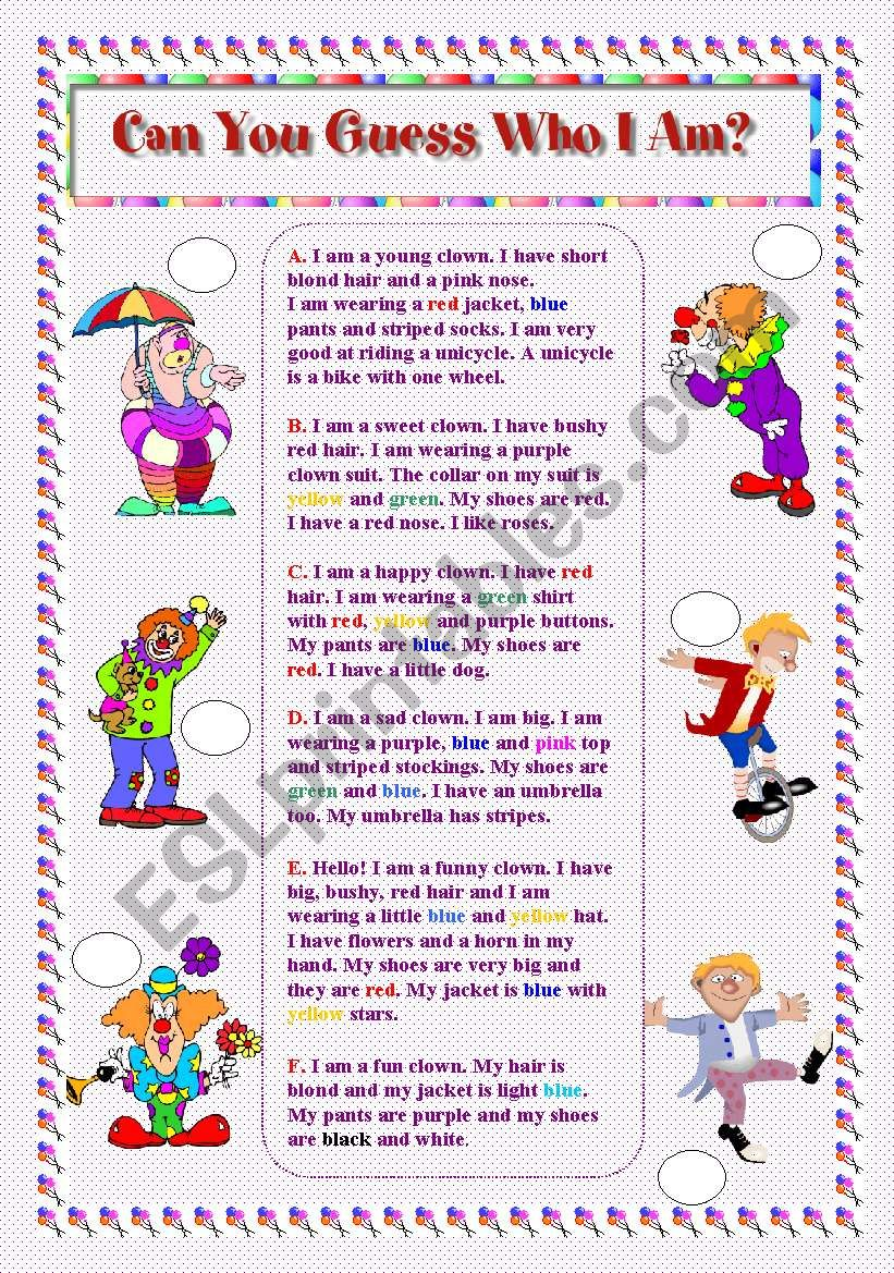 Can You Guess Who I Am? worksheet