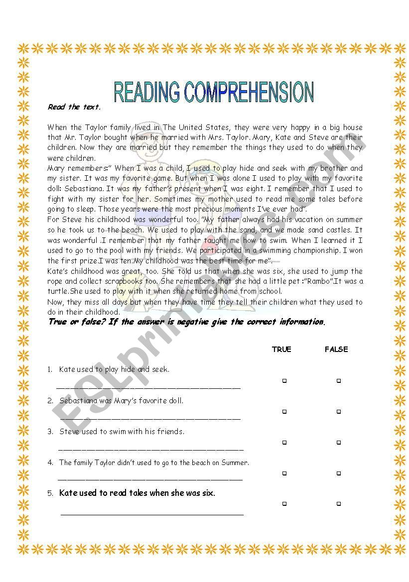 Used to (reading) worksheet