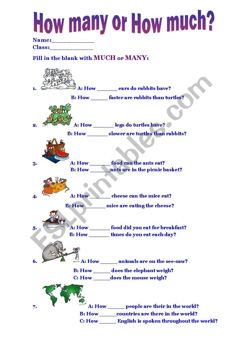 how many or how much esl worksheet by homeless turtle. Black Bedroom Furniture Sets. Home Design Ideas