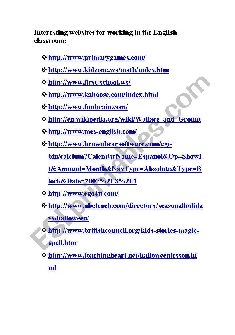 web pages worksheet