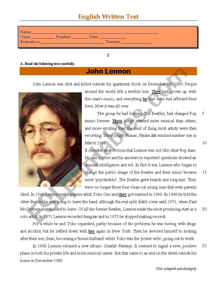 Test - John Lennon worksheet