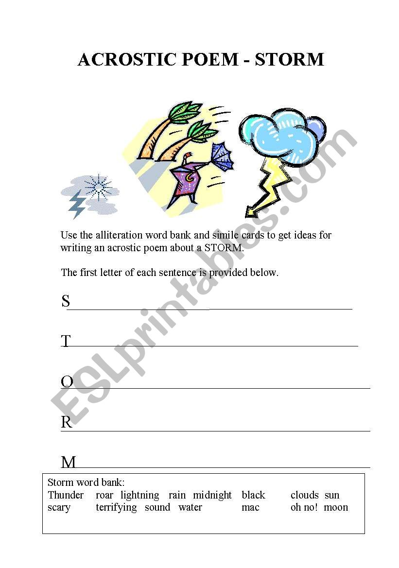 english worksheets  acrostic storm poem sheet