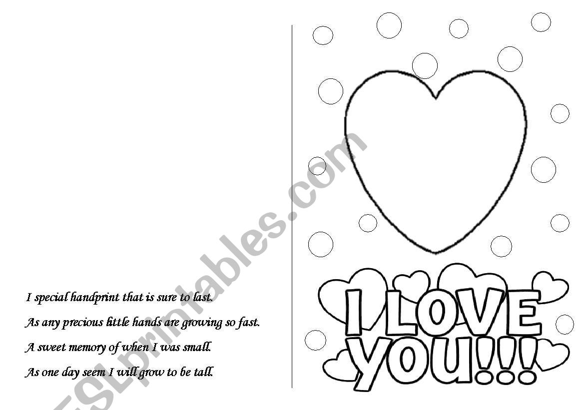 mother´s day postcard worksheet