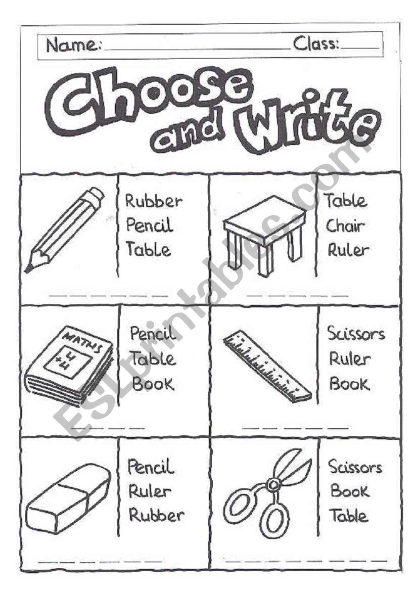 english worksheets choose and write classroom objects. Black Bedroom Furniture Sets. Home Design Ideas