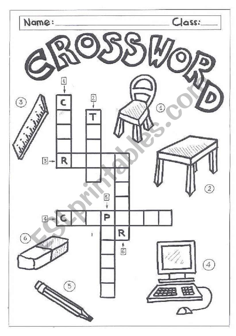 Classroom Ideas Printables ~ Crossword classroom objects esl worksheet by quietman