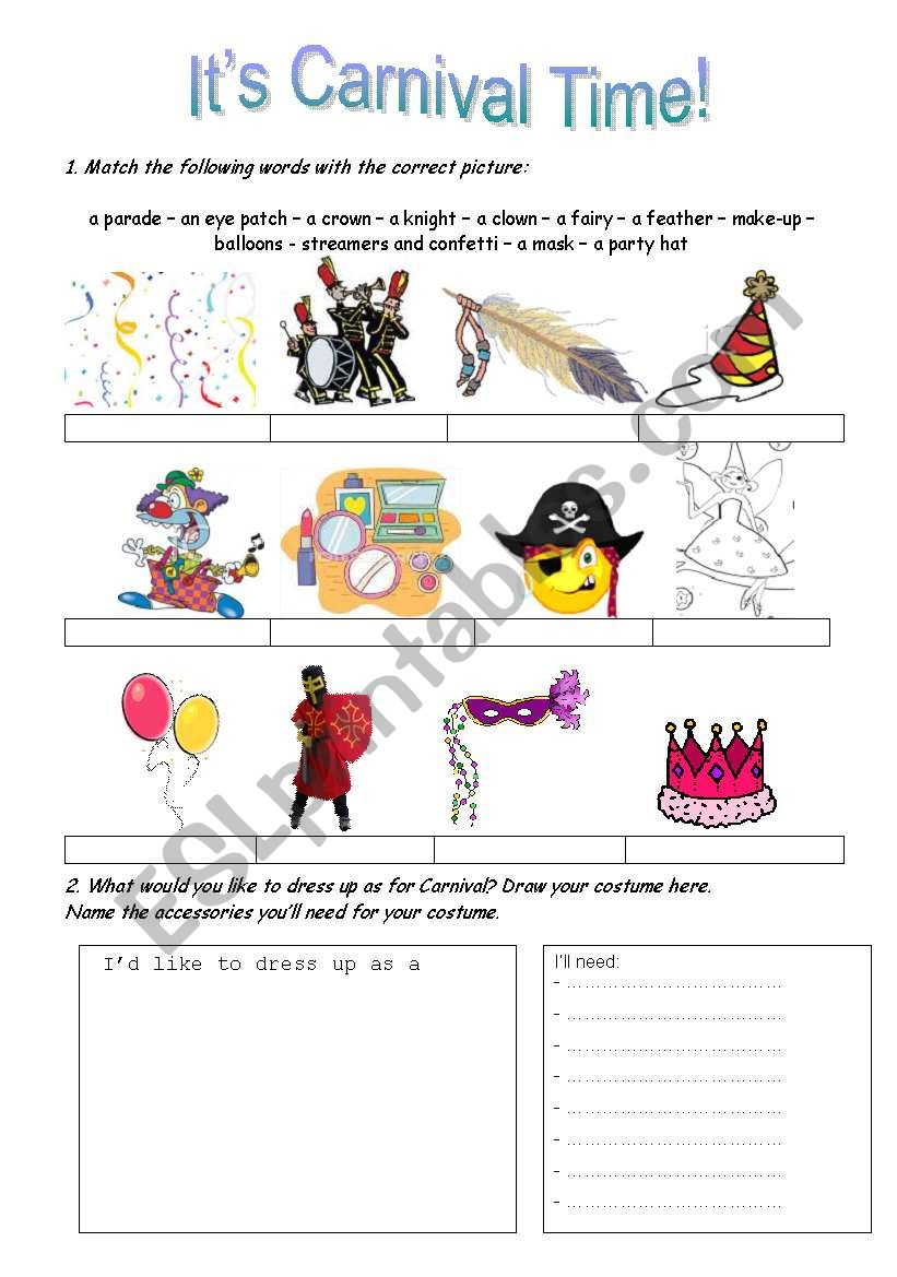 It´s Carnival Time! worksheet