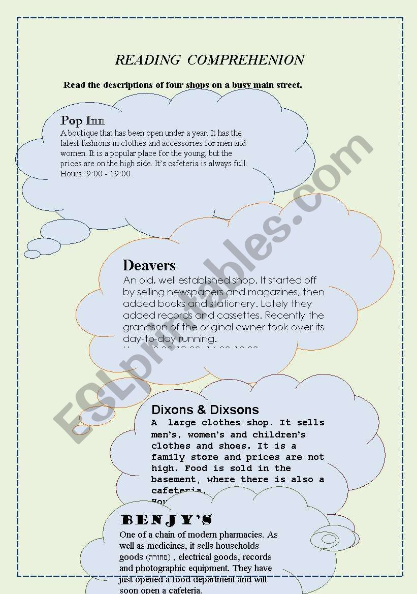 - A Reading Comprehension Passage With Exercises (3 Pages) - ESL