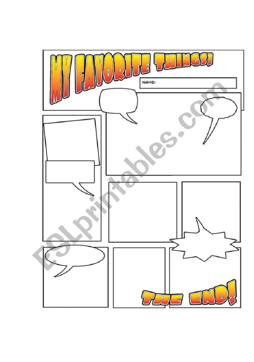Comic Book Style Worksheet My Favorite Things Esl Worksheet By