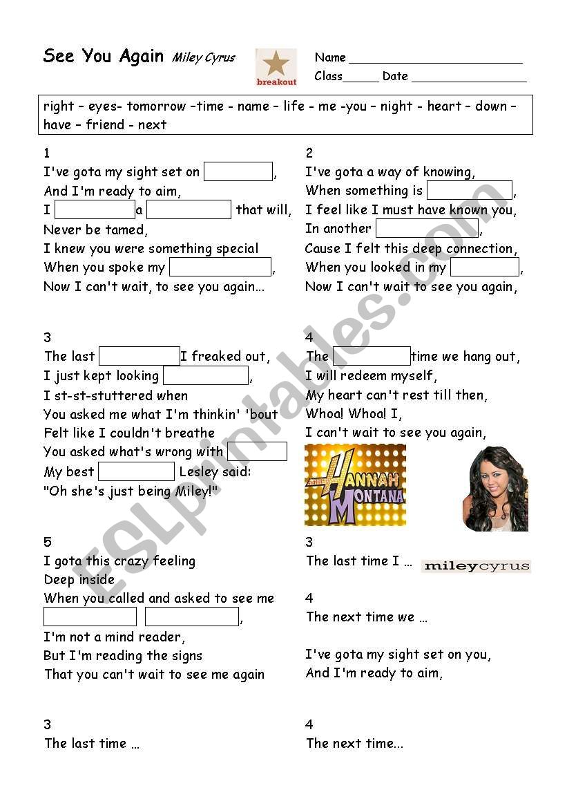SONG, See You Again by Miley Cyrus - ESL worksheet by vmartin