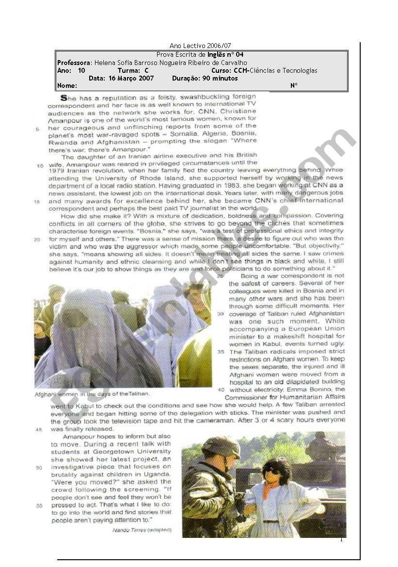 test mass media worksheet