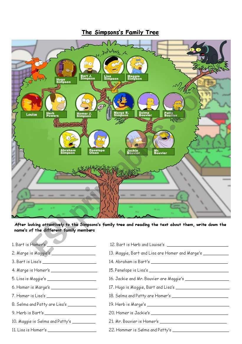 the simpson´s family tree worksheet