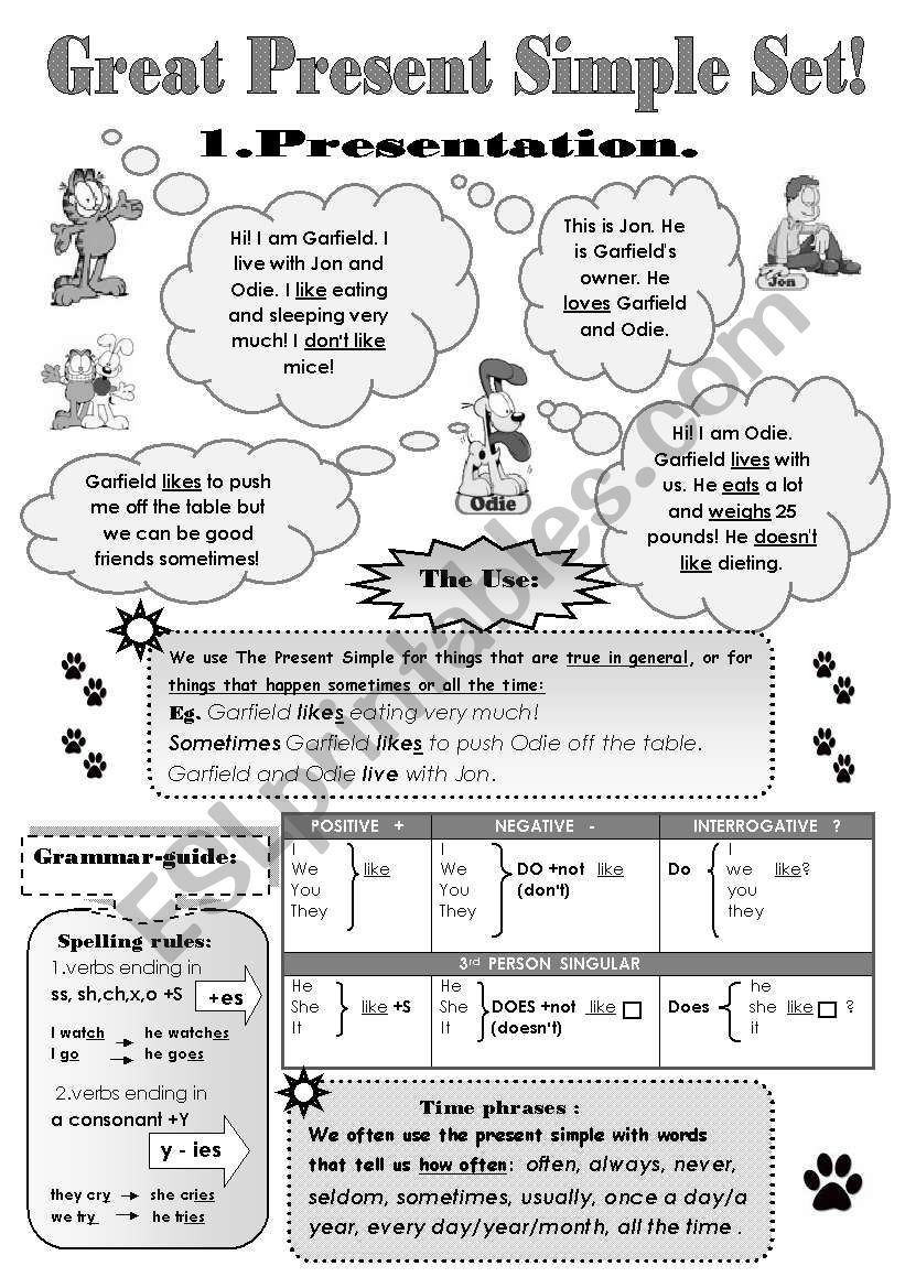 GREAT PRESENT SIMPLE SET! - 5 pages: GRAMMAR-GUIDE  + 4 pages of DIFFERENT EXERCISES!