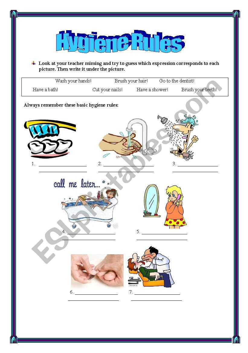 Hygiene rules worksheet