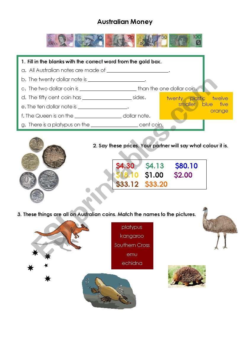 Australian Money worksheet